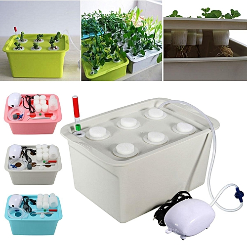 6 Plant Site Deep Water Culture Hydroponic System Bubble Tub Air Pump Grow Kit Grey