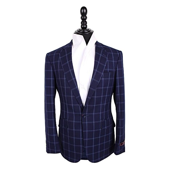 David Wej Men's Check Blazer - Blue & White
