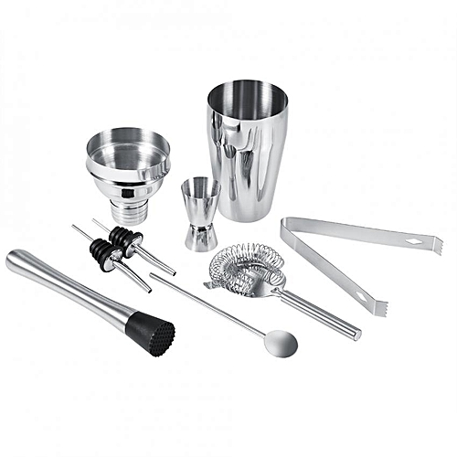 8Pcs Stainless Steel Cocktail Shaker Set Ice Tong Mixing Spoon Pourers Bar Tools