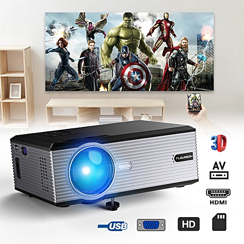 Portable Home Theater Projector Support HD 1080P US - Black