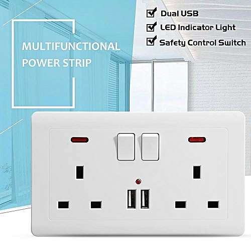Wall Socket Plate With 2 USB Fast Charger Ports 2 UK Plugs 2 Switch LED Light