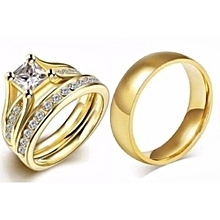 Solid Engagement/wedding Ring(3piece Set)gold Plated Steel Ring