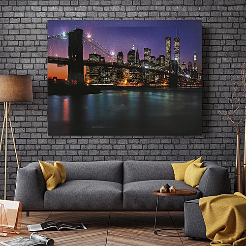 Night Bridge LED Light Up Lighted Canvas Painting Picture Wall Hanging Art Decor