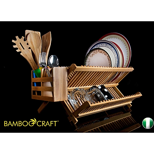 Foldable Bamboo Dish Rack Plus Utensil Caddy