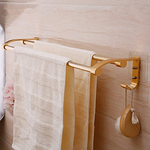 Double Rod Towel Rack With Wall Stickers - Gold Color