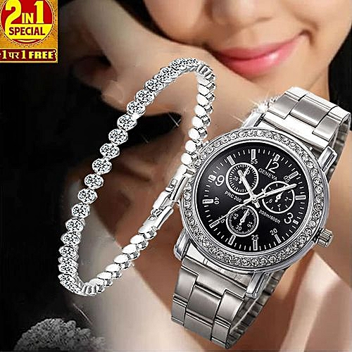 2 In 1 Silver Female Watch With Free Studded Bracelet- Silver