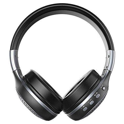 Wireless Bluetooth Headset With Noise Cancelling Over-Ear Stereo Earphones Black Gray