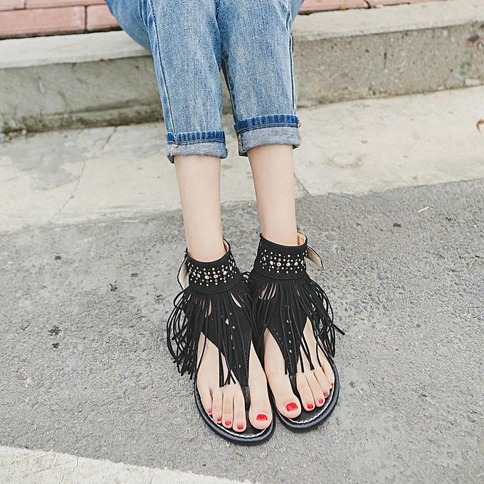 b8520a6809c9 Jiahsyc Store Women Summer Flower Girls Flip Flops Beach Sandals Bohemia Flat  Sandals BK 35