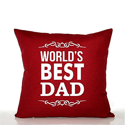 """World's Best Dad"" Printed Throw Pillow - Wine"