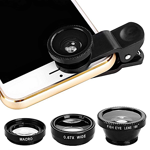 3 In1 Mobile Phone Camera Lens Kit Fish Eye Lens Super Wide Angle Lens With Black Universal Phone Clip