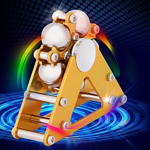 Yellow Aluminum Alloy Wheel Gyro With Tripod Stress Relief Hand Toy For Kids Adult