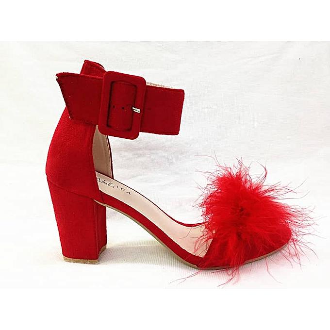 bcc7a26f221 Alpaca Block Heel Sandal - Red With Fur
