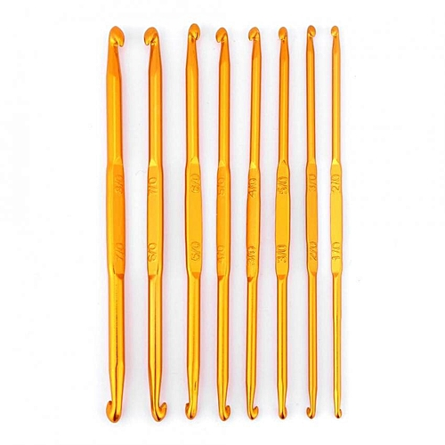 8Pcs Golden Alumina Double End Crochet Hook Knitting Needle Set Weave Craft