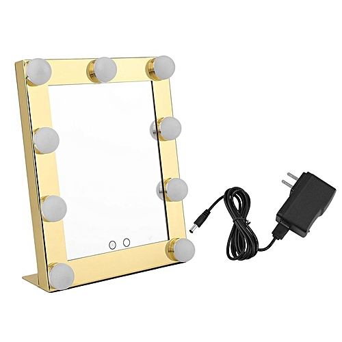 Portable 9 LEDs Bulb Vanity Lighted Makeup Mirror Dimmer Beauty Mirror Gold Color
