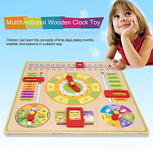 Early Educational Multifunctional Wooden Clock Toy Time Date Season Weather Kids Children