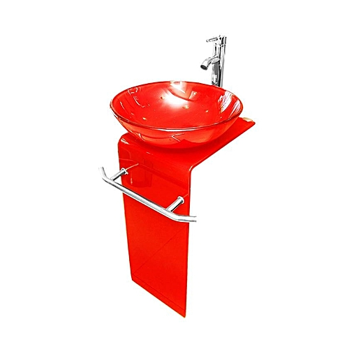 Glass Dining L Shaped Wash Hand Basin- Red