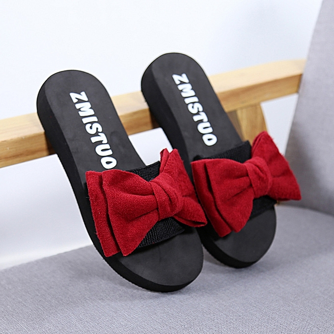 5e8ea3de1 Women Bow Summer Sandals Slipper Indoor Outdoor Flip-flops Beach Shoes Red