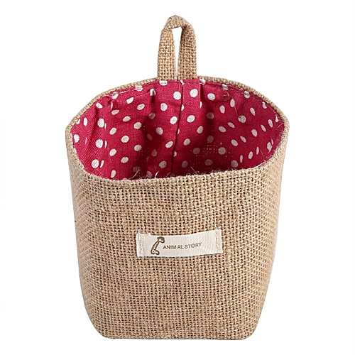 Foldable Cotton Linen Hamper Hanging Bag Red Dots