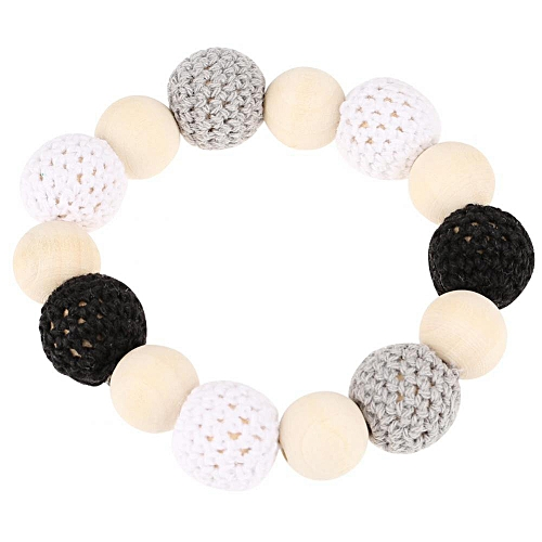 Natural Wood Crochet Clip Holder Teether Shower Tool Gift For Lovely Baby