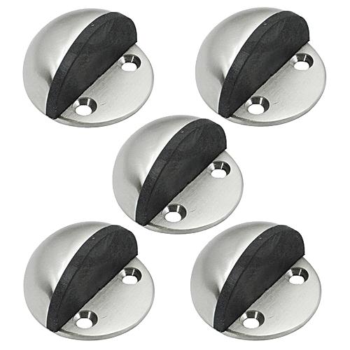 5Pcs Solid Stainless Steel Floor Door Stopper Stops Screw Mount Pack, Brushed