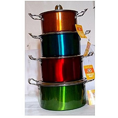 Generic 4 Pcs Beautiful High Cookware Indian Coloured Stock Pot Set And Food Server-----