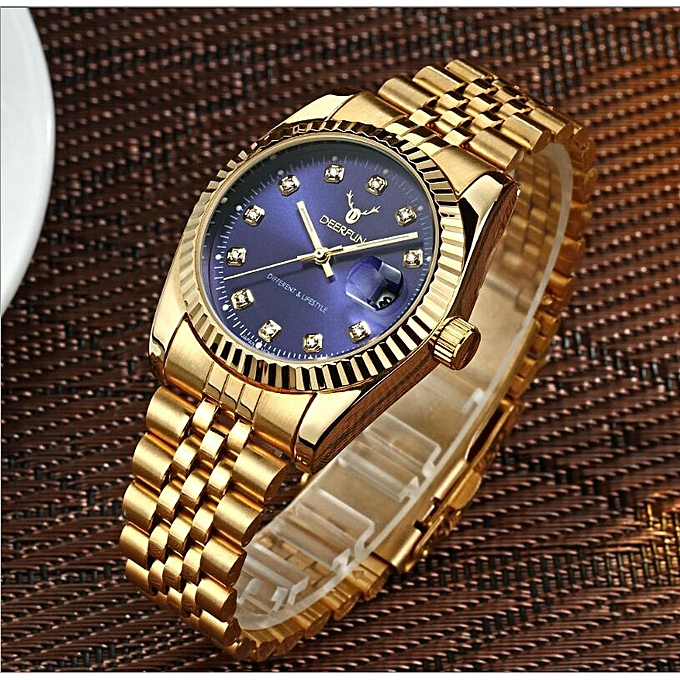ba0defd14d7 Fashion Lan Ji DEERFUN Gold Role Quartz Watch Men Clock TopLuxury Wrist  WatchesGolden Hodinky Relogio Masculino Quartzwatch