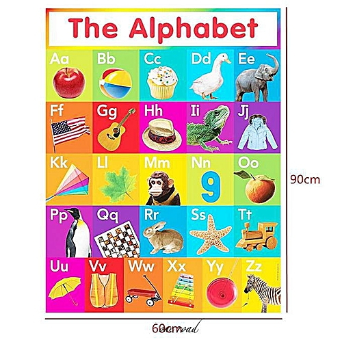 60X90Cm Abc Letter Learning Silk Poster Home Decoration For Children'S Education