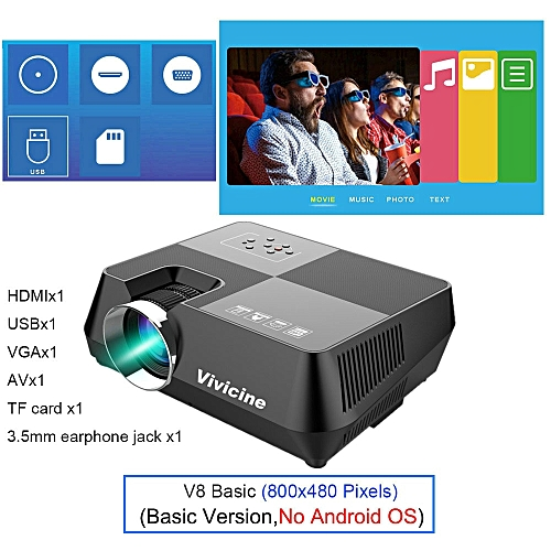 Vivicine Mini LED Projector,Portable Multimedia Video Projector For Movie Games Optional 1280x800 Android WIFI Bluetoot Beamer ASQOB