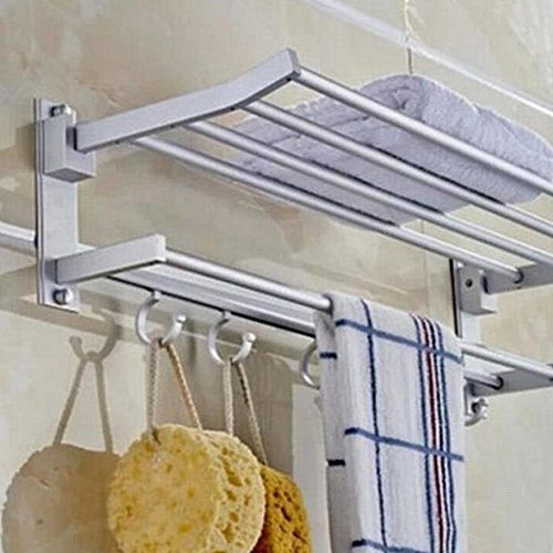 2-Tier 40cm Space Aluminum Wall-Mounted Foldabel Towel Rack With Hooks (Intl)