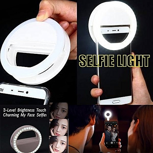 USB Charge Selfie Portable Flash Led Camera Phone Ring Light Enhancing(White)