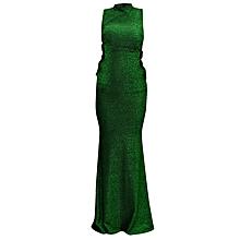 Evening Ladies Turtle Sleeveless Dress - Green eb7680c16