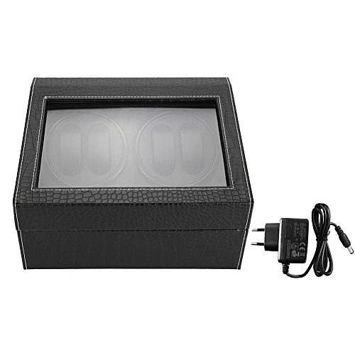 100-240V 4+6 Grids PU Leather Watch Display Storage Case Watch Winder Organizer Box EU Plug