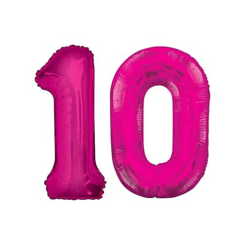 Number 10 Birthday Ballons - Pink