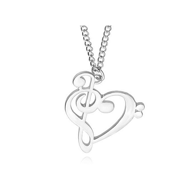 1e14615b9375de New Love Heart Treble Clef Music Note 925 Sterling Silver Pendant Necklace