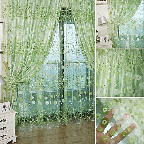 Curtains Fabric Drapes Flower Chiffon Curtains For Living Room The Bedroom Sheer Curtains Tulle Window - Green
