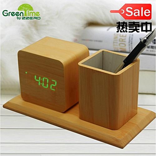 Led Wood Alarm Clock With Pen Holder.