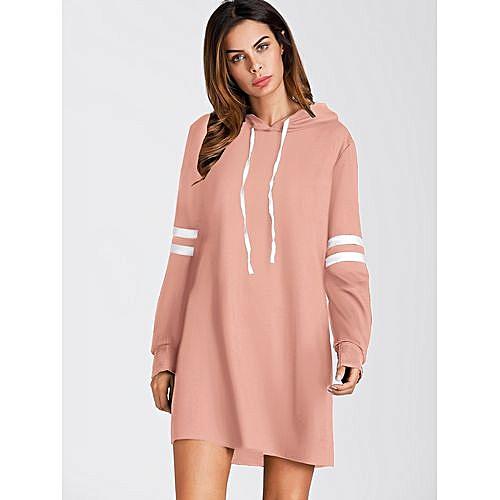 a9e5a6c887 SHEIN Striped Sleeve Hooded Sweatshirt Dress - Pink   Jumia NG