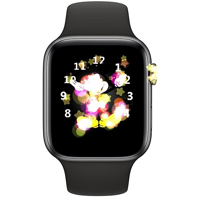 IWO8+Earphone/set Smartwatch MTK2502 44mm Case Watch Series 4 Smartwatch  Support SMS Synchroniza VS IWO 5 6(#Black)