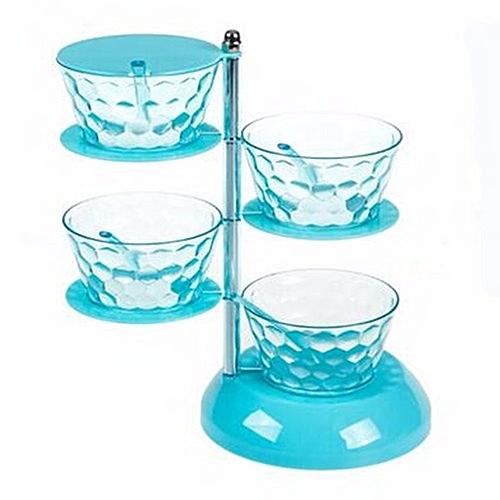 4 Layer Rotating Plastic Spice/ Condiments Set- Blue