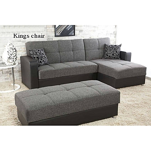 Highlander L Shaped Sofa. Grey. Order Now And Get OTTOMAN Free (DELIVERY ONLY IN LAGOS)