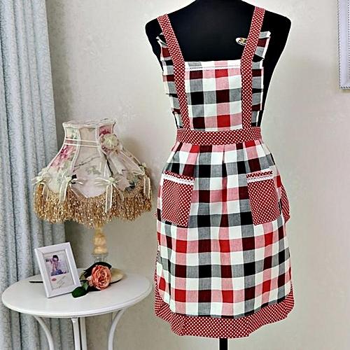 Women Lady Restaurant Home Kitchen For Pocket Cooking Cotton Apron Bib