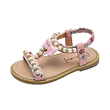 Dadaliak Store Kids Baby Girls Sandals Bowknot Pearl Crystal Roman Sandals  Princess Shoes 9bc1250ebf8c