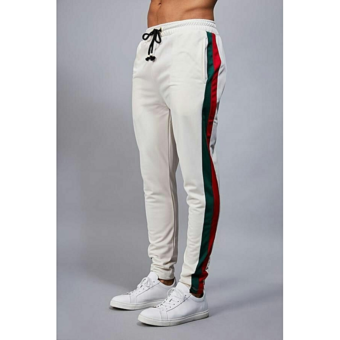 outlet boutique amazing selection hot-selling fashion White Joggers With Green And Red Stripe
