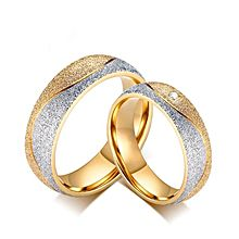 couple engagement ring for women men sand blasted gold color stainless steel cz wedding rings - Wedding Rings Online