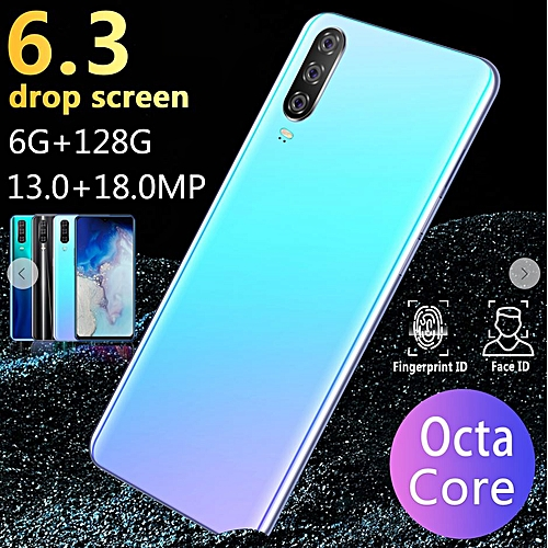 New M9 6.3 Inch Android 9.1SmartPhone10Cores (6GB RAM+128GB ROM) 13MP+18MP HD Screen Dual Card SmartPhone-Blue