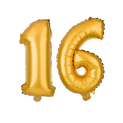 Number 16 Birthday Ballons - Gold