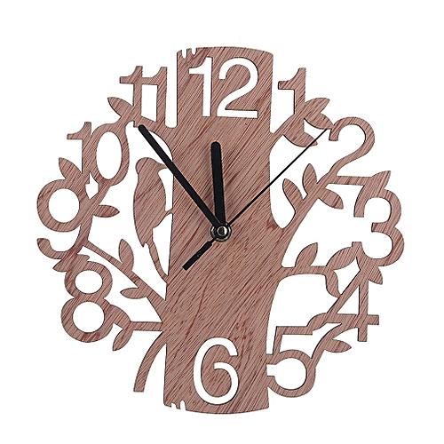 Creative Tree Shape Clock Living Room Bedroom Wall Clock Brown