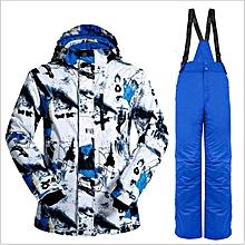 UJ Wild Snow Pro Men Ski Jacket Pants Suit Waterproof Windproof Outdoor Wear-black&blue+blue