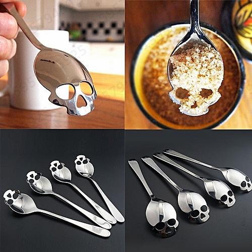 Marvellous Skull Head Dinner Spoon Stainless Coffee Dessert Spoon For Wedding Lovers