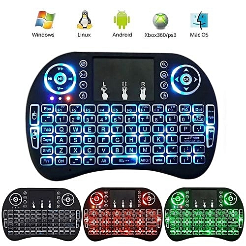 Wireless Keyboard, Mini I8 Wireless Touchpad Keyboard Adjustable Speed Air Mouse Game Keyboard With Backlight(Black)